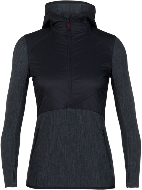 Icebreaker Descender Hybrid LS Half Zip Hood Jacket Women Black/Jet Heather/Prism